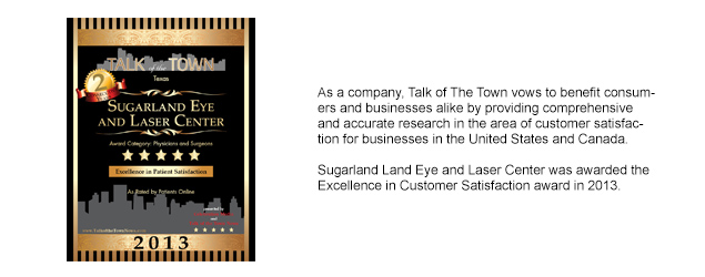 Talk of the Town Award for Sugarland Eye and Laser Center